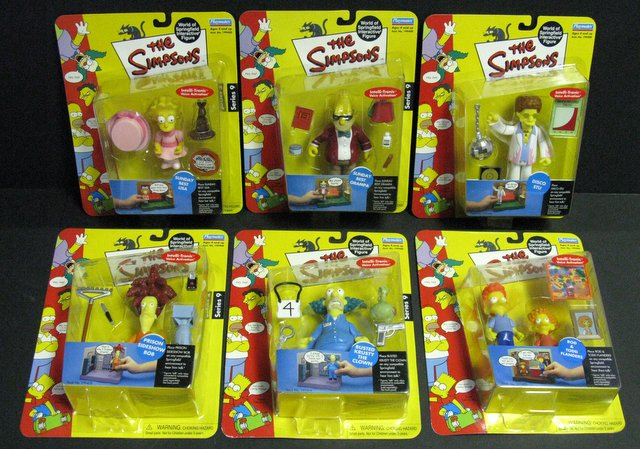 WORLD OF SIMPSONS - SET OF SIX ACTION FIGURES - Playmates, 2001 - 2004 - Set includes Sunday Best Lisa, Sunday Best Grandpa, Busted Krusty, Prison Sideshow Bob, Rod and Todd Flanders, and Disco Stew. All figures include interactive voice chip and accessories. All new on sealed cards.