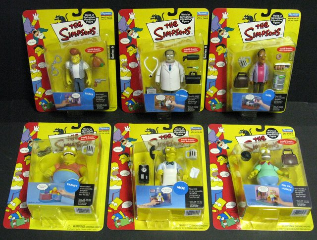 WORLD OF SIMPSONS - SET OF SIX ACTION FIGURES - Playmates, 2001 - 2004 - Set includes Pin Pal Homer, Moe, Barney, Carl, Doctor Hibbert, and Snake. All figures include interactive voice chip and accessories. All new on sealed cards.
