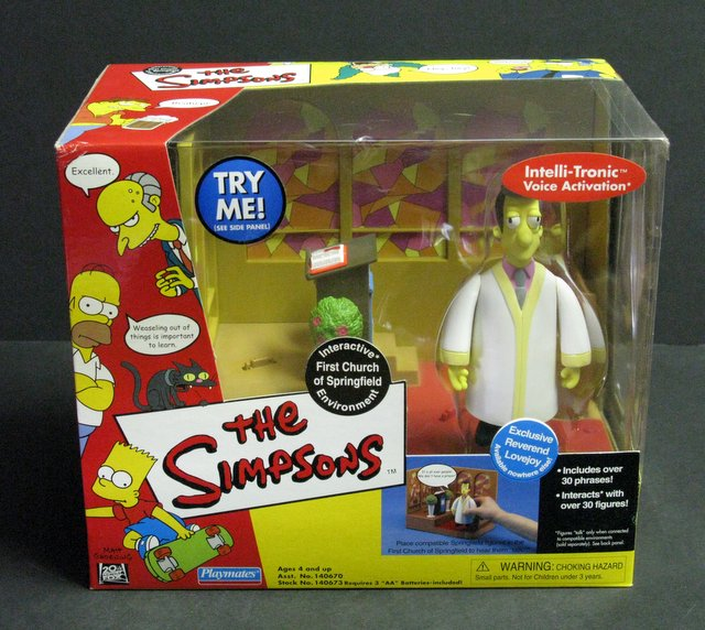 WORLD OF SIMPSONS - FIRST CHURCH OF SPRINGFIELD ELECTRONIC ENVIRONMENT - Playmates, 2001 - Interactive playset allows figures to talk.Features exclusive figure of Reverend Lovejoy. Brand new in sealed box.