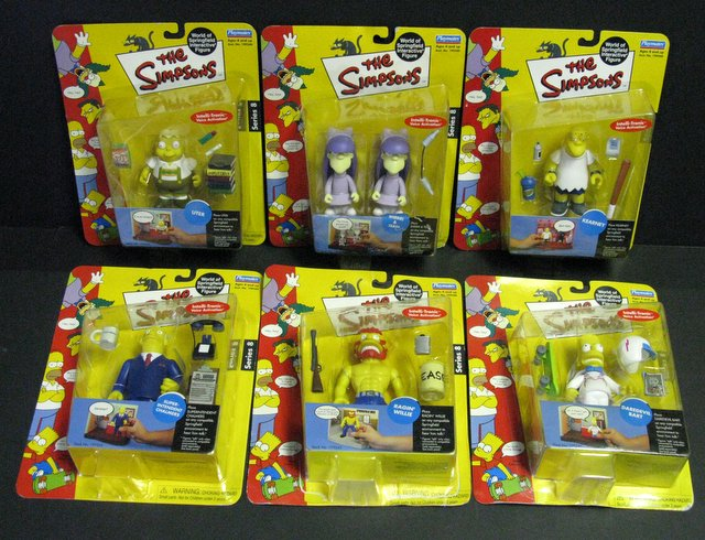 WORLD OF SIMPSONS - SET OF SIX ACTION FIGURES - Playmates, 2001 - 2004 - Set includes Daredevil Bart, Uter, Sherri and Terri, Kearney, Ragin' Willie, and Super-Intendent Chalmers. All figures include interactive voice chip and accessories. All new on sealed cards.