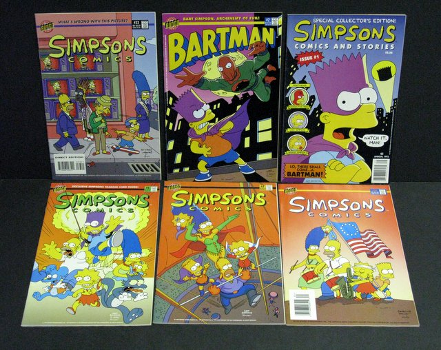 THE SIMPSONS - LOT OF 6 FULL COLOR COMIC BOOKS - Matt Groening Productions Inc, 1993-1997 - Lot includes issues #1, 2, 5, 7, 24, and 33. All 6 1/2