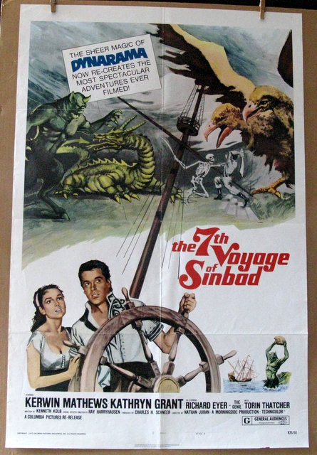 RAY HARRYHAUSEN - THE 7TH VOYAGE OF SINBAD - Re-release 1975 - One Sheet Movie Poster - 27