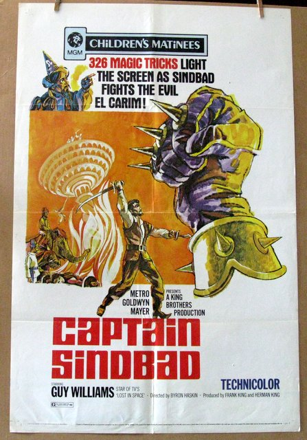 GUY WILLIAMS - CAPTAIN SINBAD - Re-release 1971 - One Sheet Movie Poster - 27