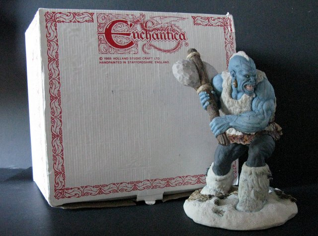 ICE TROLL - HAND PAINTED PORCELAIN STATUE WITH BOX - Enchantica Studios, England, 1988 - Limited edition of 1,000. Measures 9