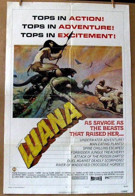 LUANA - 1973 - Great Frank Frazetta Artwork! - One Sheet Movie Poster - 27