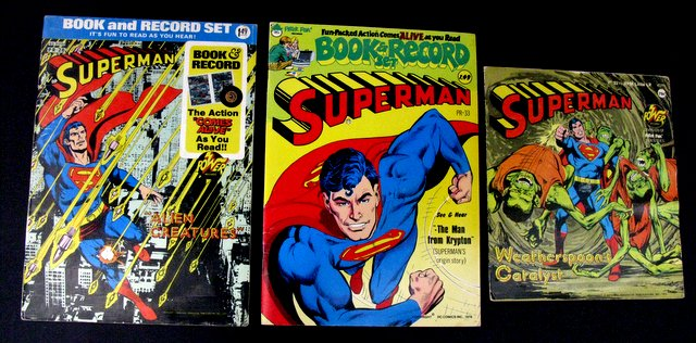 SUPERMAN - VINTAGE COMIC BOOK AND RECORD SET LOT OF 2  PLUS ADDITIONAL RECORD - DC Comics, 1975-1978 - Two vintage book and record comics telling the man of steel's stories. Plus an additional record of one of his tales for even more fun. All three Excellent.