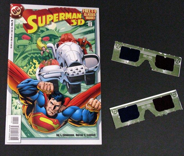 SUPERMAN 3- D COMIC BOOK - DC Comics, 1998 - Fun 3-D comic book with original glasses inside. Excellent.