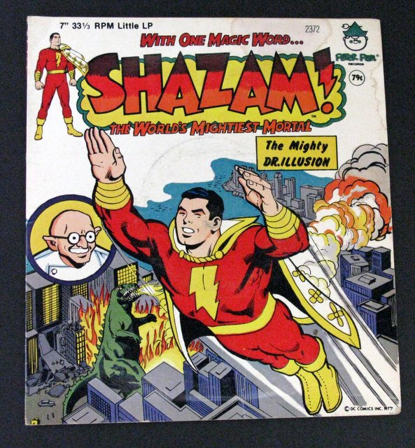 SHAZAM - VINTAGE CHILDREN'S RECORD - Peter Pan Records, 1977 - Power Records' tale of Shazam vs Dr. Illusion on record. Very Good.