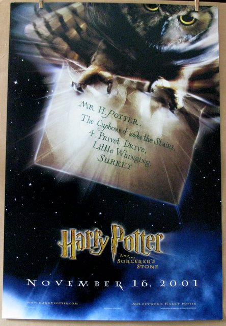 HARRY POTTER AND THE SORCERER'S STONE (First Harry Potter Movie) - 2001 - Advance One Sheet Movie Poster - 27