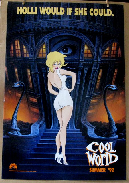 KIM BASINGER - COOL WORLD SET OF TWO POSTERS - ADVANCE AND REGULAR - 1992 - Sexy Ralph Bakshi Film - Two One Sheet Movie Posters - Both 27
