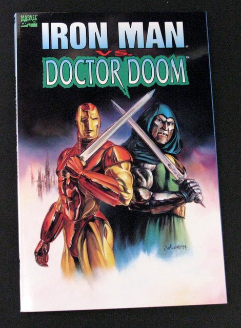 IRON MAN VS DOCTOR DOOM - DELUXE TRADE PAPERBACK GRAPHIC NOVEL - Marvel Comics, 1994 - Fantastic tale of Iron Man and Doctor Doom as enemies and allies throughout time in full color. 6 1/2