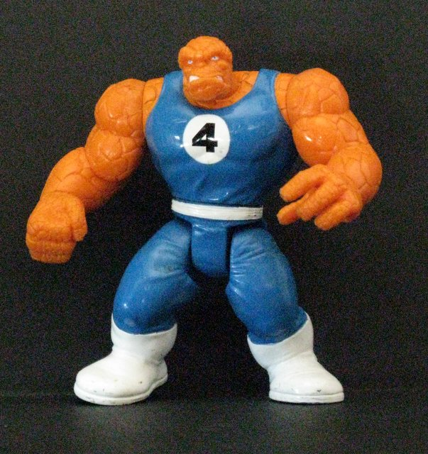 "MARVEL THE THING (Fantastic Four) - VINTAGE ACTION FIGURE – 1988 - Fully poseable plastic figure of The Thing, standing 5 ½"" tall. Excellent."