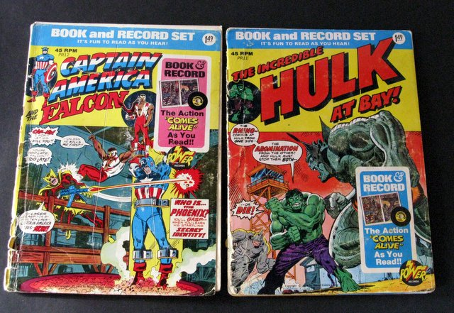 MARVEL – CAPTAIN AMERICA & HULK - BOOK AND RECORD LOT OF 2 - Power Records, 1974 - Lot includes The Incredible Hulk at Bay and Captain America and the Falcon. Both Good.