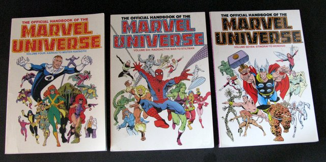 THE OFFICIAL HANDBOOK OF THE MARVEL UNIVERSE LOT OF THREE - Marvel Comics, 1989 - Lot includes volumes four, six, and seven. Fabulous full-color reference books on everything Marvel. All Near Mint.