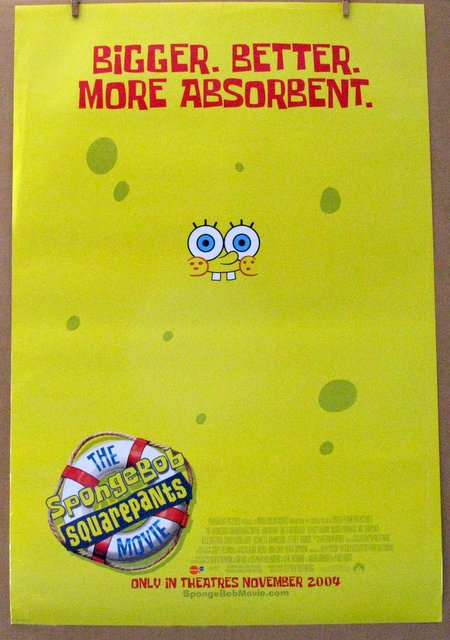 SPONGEBOB SQUAREPANTS THE MOVIE ADVANCE AND REGULAR POSTERS - 2003 - Advance One Sheet Movie Poster and Regular One Sheet Movie Poster - Both 27