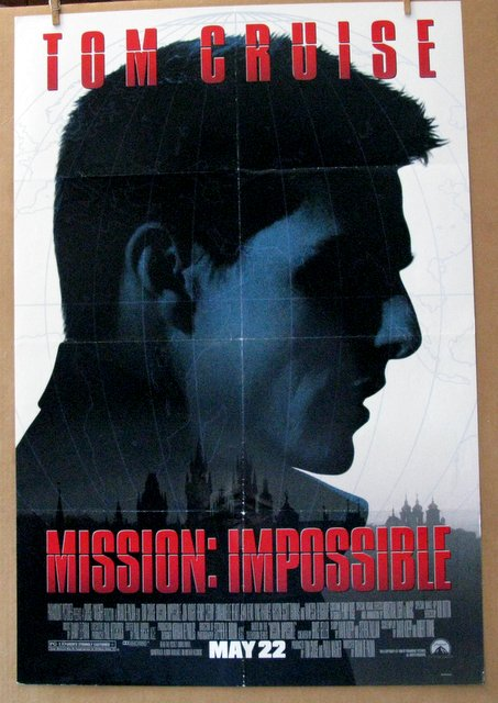 TOM CRUISE - MISSION IMPOSSIBLE - 1996 One Sheet Movie Poster - 27