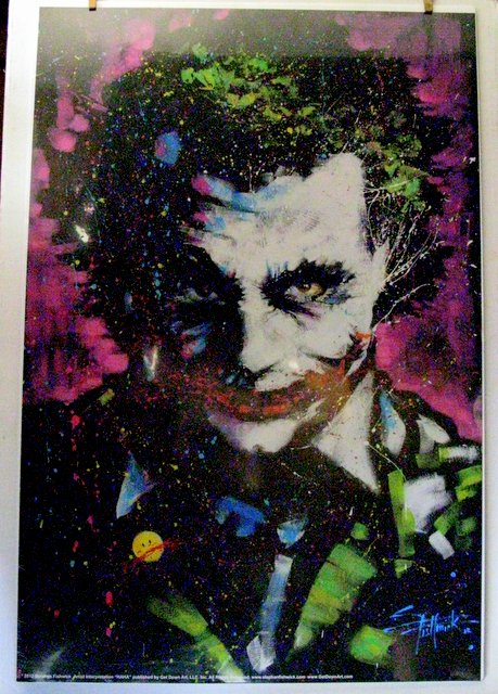 BATMAN VILLAIN - THE JOKER - LIMITED EDITION WALL POSTER - Get Down Art, LLC, 2012 - Awesome Stephen Fishwick painting of the crazy criminal. Highly limited, mint and shrink-wrapped on board.
