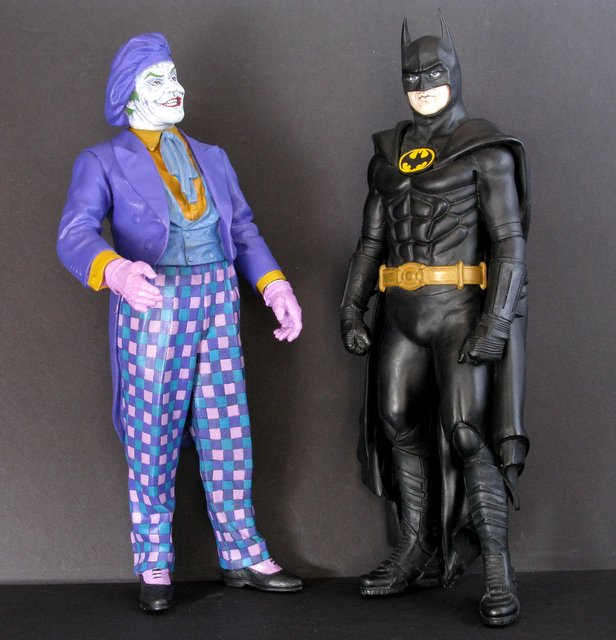 TIM BURTON'S BATMAN & JOKER PAINTED MODEL FIGURE SET - Billiken, 1989 - Extremely rare renditions of the famous movie characters. Each perfectly hand painted, standing 11 1/2