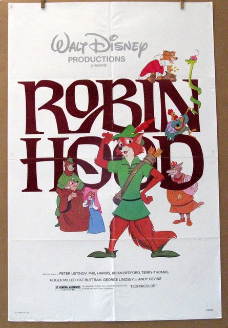 DISNEY'S ROBIN HOOD (Animated) - Re-release 1982 - One Sheet Movie Poster - 27