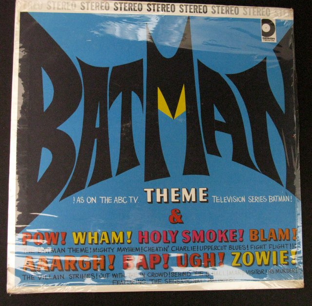 1966 BATMAN - LP RECORD THE HIT TV SERIES' THEME - Design Records, 1966 - Record of television's iconic hero theme, and other Bat-background music. Mint and sealed.