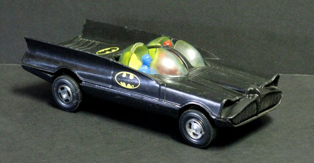 1966 BATMAN VINTAGE PLASTIC BATMOBILE - Simms Toys, 1966 - All plastic vehicle measures 8 1/2