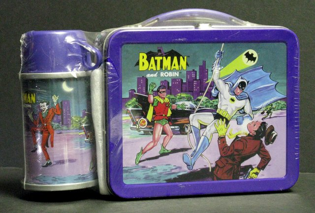 1966 BATMAN MINI METAL LUNCH BOX & THERMOS - Hallmark, 1999 - Limited edition retro metal lunch box and thermos. Number 13,465/19,500. Lunch box measures 6