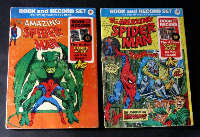 THE AMAZING SPIDER-MAN - VINTAGE CHILDREN'S BOOK & RECORDS LOT OF 2 - Power Records, 1974 - Lot includes Curse of the Man-wolf, and Invasion of the Dragon Men. Includes original record. Good.