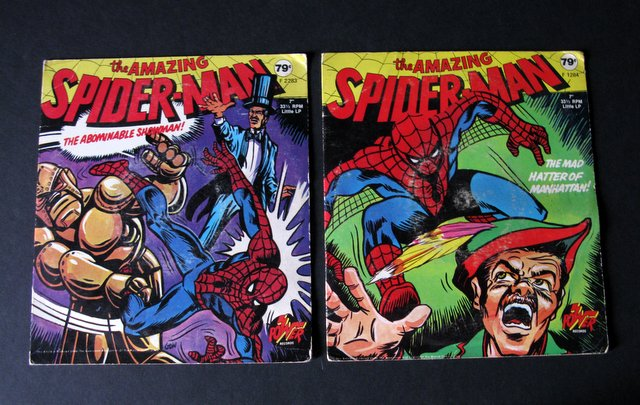 THE AMAZING SPIDER-MAN - KIDS RECORD LOT OF 2 - Power Records, 1972 - Vintage lot of kid's records for the famed hero. Lot includes The Mad Hatter of Manhattan and The Abominable Showman. Records in original cases, everything Very Good.