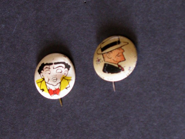 DICK TRACY - PEP PINS LOT OF TWO - Famous Artists Syndicate, 1945 - Lot includes Dick Tracy and the villainous Flattop on vintage 3/4