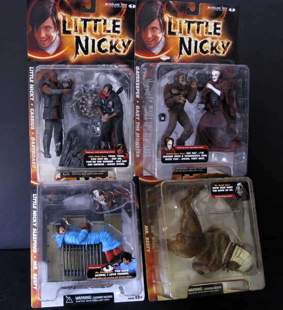 LITTLE NICKY - COMPLETE SET OF FOUR ACTION FIGURES - McFarlane Toys, 2000 - Set includes Little Nicky sleeping and Mr. Beefy the dog, Gatekeeper and Gary the Monster, Little Nicky and Cassius with Dartboard, and Big Size Mr. Beefy. All brand new sealed on cards.