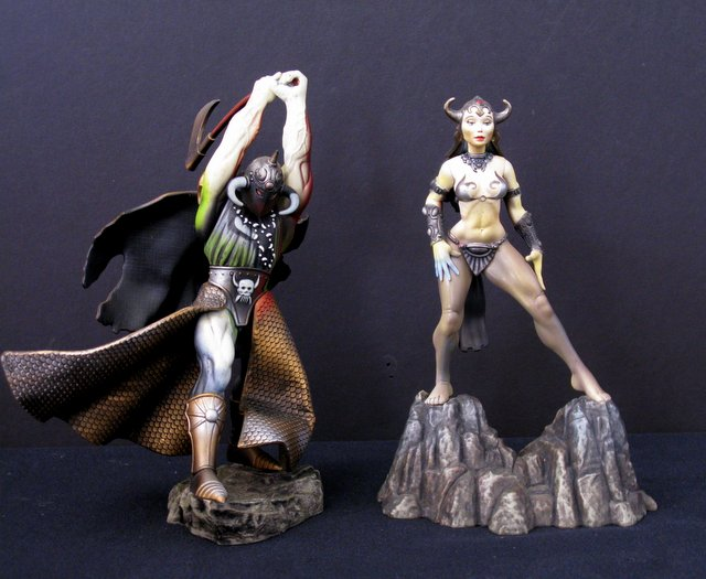FRAZETTA FANTASY ACTION FIGURES LOT OF 2 - DEATH DEALER & PRINCESS - McFarlane Toys, 1998 - Statue likenesses of Frank Frazetta's fabulous prints. Each 8