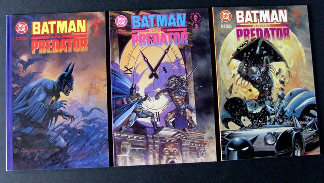BATMAN VS PREDATOR - COMPLETE SET OF 3 GRAPHIC NOVELS DC/DARK HORSE - DC Comics, 1991 - Complete set of three full color deluxe comics showing Batman's struggle to defeat the infamous Predator. All three near mint.