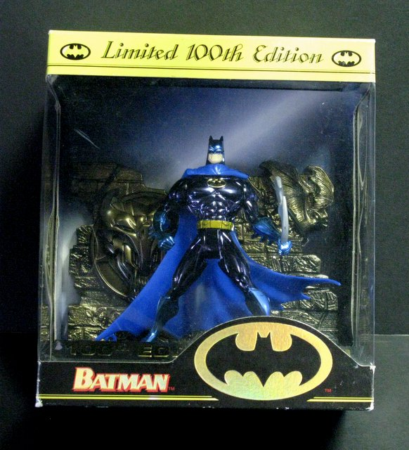 BATMAN LIMITED 100TH EDITION ACTION FIGURE - Kenner, 1996 - Deluxe blue chrome Batman figure on decorative base. Stands 6