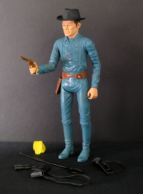 "VINTAGE CAPTAIN MADDOX JOHHNY WEST ACTION FIGURE – Marx Toys, 1975 – 11 1/2"" tall poseable plastic Captain Maddox figure. Complete with multiple accessories. Very Good."