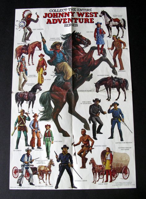 "VINTAGE JOHNNY WEST ADVENTURE SERIES STORE POSTER – Marx Toys, 1975 – Colorful 12"" x 18"" poster advertising Marx' entire Johnny West line. Rare, Excellent."