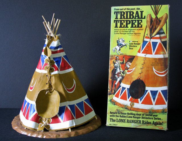 "VINTAGE AMERICAN INDIAN TRIBAL TEPEE & BOX – Hubley Toys, 1973 – Colorful 14"" tall tribal tepee scaled to Hubley's Lone Ranger figures. Complete with original box. Tepee Near Mint, box Very Good."