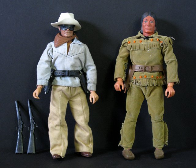 "VINTAGE LONE RANGER & TONTO ACTION FIGURES – Hubley Toys, 1973 – Fully articulated 9 1/2"" tall action figures complete with original cloth outfits and accessories. Both Very Good."