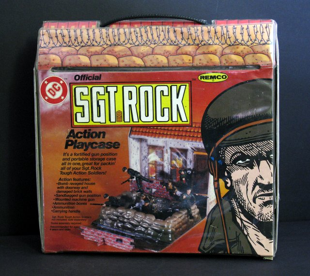 VINTAGE SGT. ROCK ACTION PLAYCASE - Remco Toys, 1981 - Complete action packed play-set of army men outside a ravaged house. Comes with five figures and accessories. Excellent.