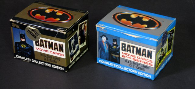 TIM BURTON'S BATMAN - MOVIE CARDS IN ORIGINAL COLLECTORS BOX SERIES 1 & 2 - Topps, 1989 - Both limited editions, both contain 143 glossy cards and 22 stickers. Both boxes in very god condition, cards Near Mint.