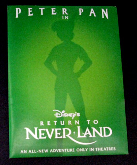DISNEY'S PETER PAN: RETURN TO NEVERLAND - PRESS KIT - Original press kit of Disney's epic sequel, Return to Neverland. Includes 10 photos, and a detailed booklet of various behind the scenes information. Excellent.