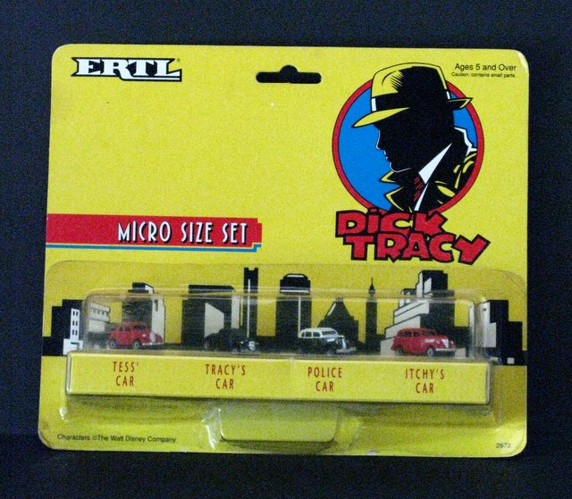 DISNEY'S DICK TRACY - VINTAGE MICRO CAR SET - Ertl Company, 1990 - Set includes Tess' car, Tracy's car, Police car, and Itchy's car. Sealed on card.