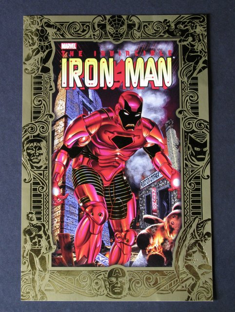 "MARVEL IRON MAN JUMBO COLLECTOR'S CARD – Marvel Comics, 1995 – Dazzling embossed gold foil card featuring the invincible avenger. The golden border displays many other Marvel heroes. Measures 6 ½"" x 10"". Excellent."
