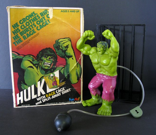 MARVEL - HULK WITH RAGE CAGE - VINTAGE MARVEL TOY -Fun Stuff, 1978 - Extremely rare vintage toy of inflatable Hulk breaking free from his cage. Includes original instructions, pump, and cage. Missing shirt, handcuffs, lock top, and cage base. Box is rough, Figure is Very Good.