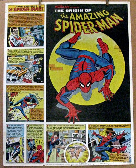 "MARVEL - SPIDER-MAN ORIGIN POSTER – Coca-Cola, 1980 – Rare promo poster produced by Coca-Cola celebrating Marvel's most famous hero. Measures 22"" x 28"". Quite scarce. Very Good."