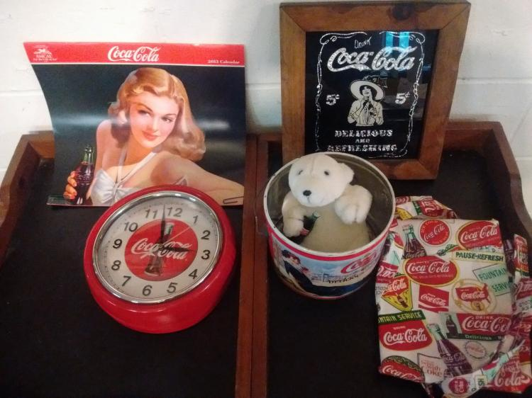 LARGE COKE LOT TO INC. VINTAGE LITHO PAIL, WALL CLOCK, PLUSH POLAR BEAR, 2013 CALENDAR, UNUSED APRON, VINTAGE MIRROR