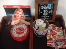 LARGE COKE LOT TO INC. VINTAGE LITHO PAIL, WALL CLOCK, PLUSH POLAR BEAR, 2013 CALENDAR, UNUSED APRON, VINTAGE MIRROR