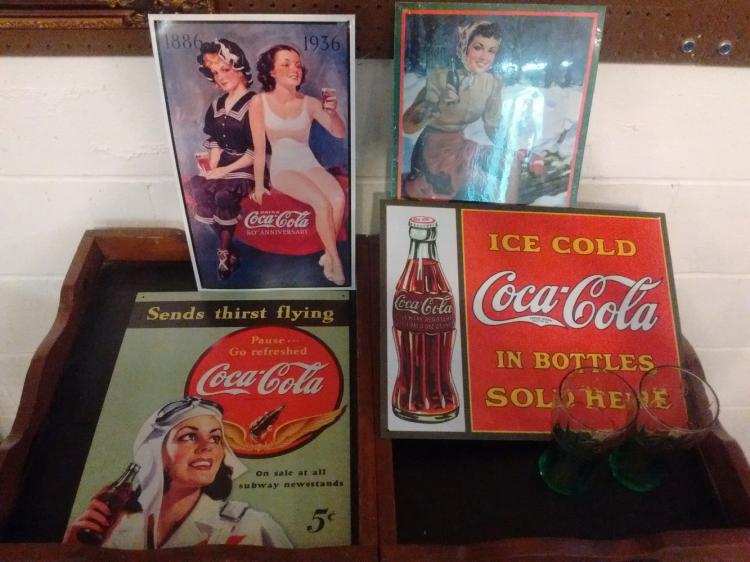 COKE LOT TO INC. 4 METAL REPRO SIGNS & 2 GLASSES