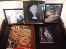 MARILYN MONROE LOT TO INC. 3 FRAMED PHOTOS, PAPERBACK & 3 VINTAGE LIFE MAGS