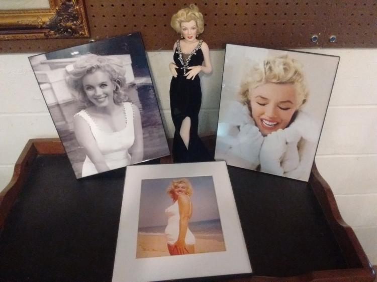 MARILYN MONROE LOT TO INC. LIMITED EDITION PORCELAIN FIGURE & 3 FRAMED PHOTOS