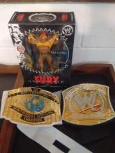 LOT INCLUDES KIDS INTERCONTINENTAL BELT & 2010 CHAMPIONSHIP BELT, RARE LIMITED 2007 HULK HOGAN FURY UNMATCHED FIGURE STILL SEALED - MADE BY JAKKS PACIFIC